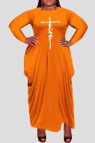 Orange Fashion Casual Plus Size Print Asymmetrical O Neck Long Sleeve Dresses