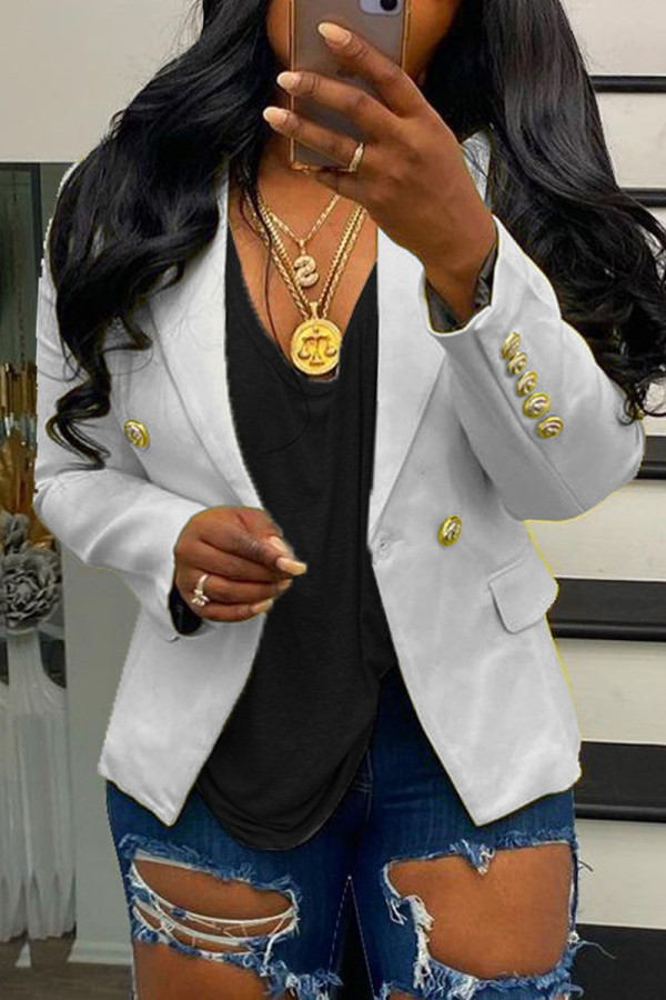 White Fashion Casual Solid Pocket Buttons Turndown Collar Outerwear