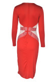 Red Fashion Sexy Patchwork Slit Hot Drill V Neck Long Sleeve Dresses