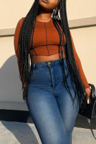 Medium Blue Fashion Casual Solid Basic Plus Size Jeans