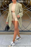Apricot Casual Solid Split Joint Turndown Collar Outerwear
