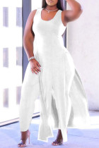 White Fashion Casual Solid Tassel Vests U Neck Plus Size Two Pieces