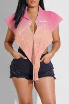 Pink Sexy Print Split Joint Buckle Asymmetrical Turndown Collar Tops