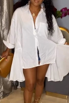 White Casual Solid Split Joint Pocket Buckle Asymmetrical Turndown Collar Tops