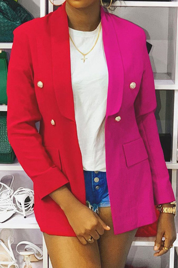 Red Casual Color Block Buckle Turn-back Collar Outerwear