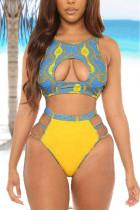 Yellow Fashion Sexy Cute National Totem Swimwears