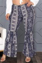 Deep Blue Fashion Casual Print Basic Plus Size High Waist Trousers