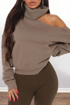 Grey Casual Solid Turtleneck Tops