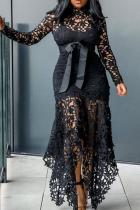 Black Sexy Solid Lace O Neck Irregular Dress Dresses