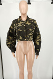 Camouflage Casual Camouflage Print Split Joint Turndown Collar Outerwear
