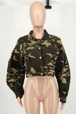 Camouflage Fashion Casual Camouflage Print Cardigan Turndown Collar Outerwear