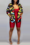 Black Sexy Print Split Joint Turndown Collar Outerwear