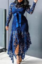 Blue Sexy Solid Lace O Neck Irregular Dress Dresses