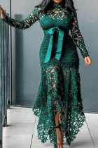 Green Sexy Solid Lace O Neck Irregular Dress Dresses