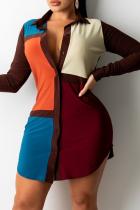 Tangerine Red Casual Color Block Split Joint Turndown Collar Shirt Dress Dresses