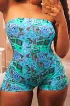 Blue Sexy Print Split Joint Strapless Skinny Jumpsuits