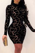 Black Fashion Sexy Print See-through O Neck Long Sleeve Dresses