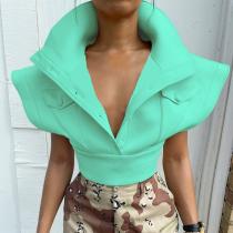 Green Sexy Solid Split Joint Turndown Collar Tops