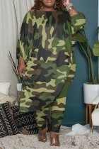 Camouflage Casual Print Split Joint One Shoulder Plus Size Two Pieces