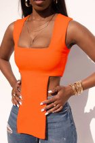 Tangerine Red Sexy Solid Split Joint Square Collar Tops