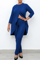 Blue Casual Solid Split Joint Asymmetrical O Neck Nine Points Sleeve Two Pieces