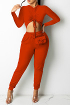 Red Sexy Solid Split Joint Draw String Fold O Neck Long Sleeve Two Pieces