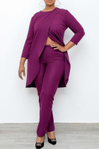 Purple Casual Solid Split Joint Asymmetrical O Neck Nine Points Sleeve Two Pieces