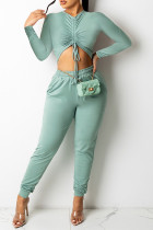 Light Green Sexy Solid Split Joint Draw String Fold O Neck Long Sleeve Two Pieces