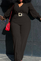 Black Fashion Casual Solid With Belt V Neck Plus Size Jumpsuits