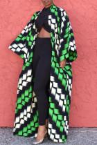 Green Fashion Plaid Print Split Joint Plus Size Overcoat