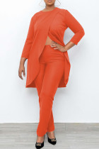Orange Casual Solid Split Joint Asymmetrical O Neck Nine Points Sleeve Two Pieces