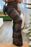 Brown Sexy Animal Print Split Joint Boot Cut High Waist Speaker Full Print Bottoms
