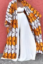 Yellow Casual Print Split Joint Plus Size Overcoat