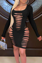 Black Sexy Solid Hollowed Out Split Joint U Neck Pencil Skirt Dresses