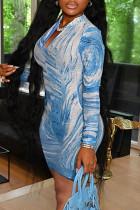 Blue Sexy Print Split Joint Zipper Collar Pencil Skirt Dresses