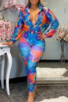 Blue Orange Fashion Casual Print Split Joint Turndown Collar Long Sleeve Two Pieces