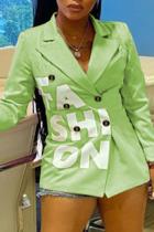 Light Green Casual Print Split Joint Turndown Collar Outerwear