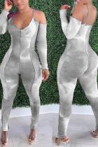 Grey Sexy Patchwork Tie-dye Spaghetti Strap Skinny Jumpsuits