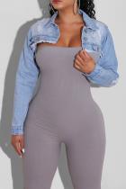 Baby Blue Sexy Solid Split Joint Turndown Collar Long Sleeve Skinny Denim Jacket