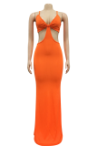 Orange Sexy Solid Hollowed Out Halter Pencil Skirt Dresses