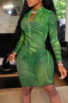 Green Sexy Print Split Joint Zipper Collar Pencil Skirt Dresses