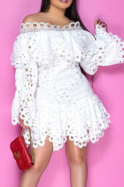 White Sweet Solid Hollowed Out Split Joint Asymmetrical Off the Shoulder A Line Dresses