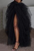 Black Fashion Casual Solid Split Joint Regular Mesh Skirt