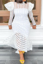 White Sweet Striped Print Split Joint Flounce Asymmetrical Half A Turtleneck Long Sleeve Dresses