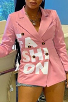 Pink Casual Print Split Joint Turndown Collar Outerwear