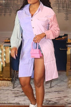 Pink Casual Solid Split Joint Buckle Turndown Collar Tops