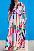 Pink Casual Turn-down Collar Half Sleeve Loose Long Summer Dresses