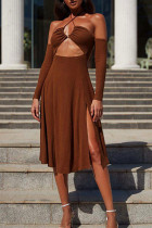 Brown Sexy Solid Bandage Hollowed Out Backless Strapless Long Sleeve Dresses
