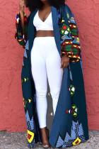 Blue Street Print Split Joint Outerwear