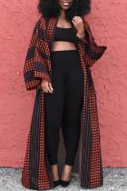 Red Street Print Split Joint Outerwear